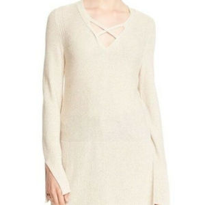 Free People Ivory Crisscross Straps Hi Low Sweater